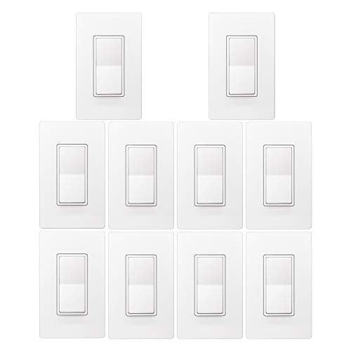 [10 Pack] BESTTEN Single Pole Wall Light Switch with Screwless Wallplate, 15A 120/277V, On/Off Rocker Paddle Interrupter, cUL Listed, White