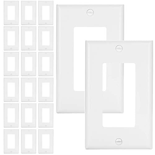 [20 Pack] BESTTEN Decorator Wall Plate, 1-Gang Standard Size Outlet and Switch Cover, Unbreakable Polycarbonate, UL Listed, White