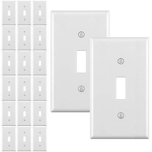 [20 Pack] BESTTEN Toggle Switch Wall Plate, 1-Gang Standard Size Light Switch Cover, Unbreakable Polycarbonate, UL Listed, White