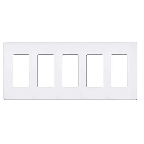 BESTTEN 5-Gang Screwless Wallplate, Decorator Outlet Cover USWP6, Snow White, for Light Switch, Dimmer, GFCI, USB Receptacle, UL Listed
