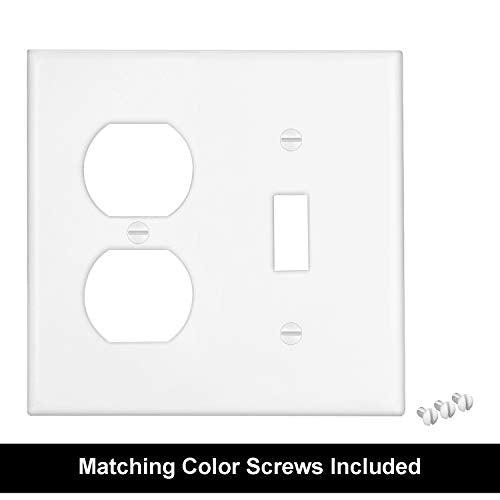 [2 Pack] BESTTEN 2-Gang Combination Wall Plate, 1-Duplex/1-Toggle, Standard Size, Unbreakable Polycarbonate Outlet and Switch Cover, cUL Listed, White