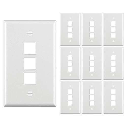 [10 Pack] BESTTEN 3-Port Keystone Wall Plate, for Keystone Jack and Modular Inserts, Unbreakable Polycarbonate, cUL Listed, White