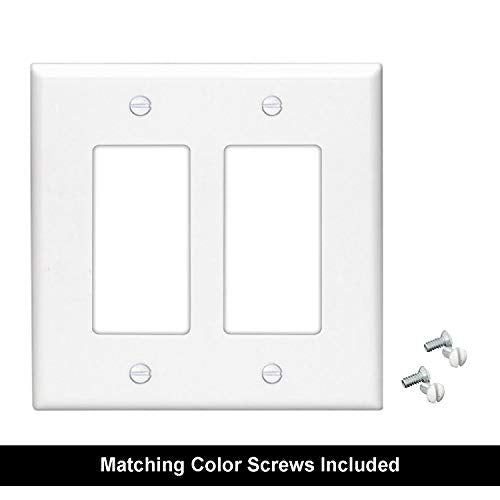 [10 Pack] BESTTEN Decorator Wall Plate, 2 Gang Standard Size Outlet Cover for GFCI and USB Receptacles, Device Mount, Unbreakable Polycarbonate Material, UL Listed, White