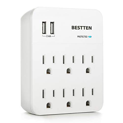 BESTTEN 6-Outlet Wall Mount Surge Protector with 2 USB Charging Ports (2.4A Total), Blue Surge Protection Indicator, CETL Certified, White