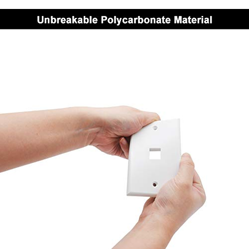 [10 Pack] BESTTEN 1-Port Keystone Wall Plate, for Keystone Jack and Modular Inserts, Unbreakable Polycarbonate, UL Listed, White