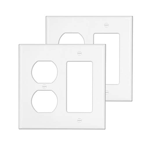 [2 Pack] BESTTEN 2-Gang Combination Wall Plate, 1-Duplex/1-Decor, Standard Size, Unbreakable Polycarbonate Outlet and Switch Cover, UL Listed, White