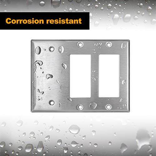 [2 Pack] BESTTEN 3-Gang Combination Metal Wall Plate, 2-Decorator/1-Blank, Standard Size, Anti-Corrosion 430 Stainless Steel Outlet and Switch Cover, UL Listed, Silver