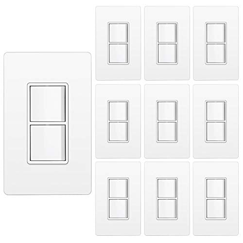 [10 Pack] BESTTEN Double Light Switch with Screwless Wallplate, On/Off Rocker Dual Wall switch,15A/120V Single Pole Combination Interrupter, UL Listed, Snow White