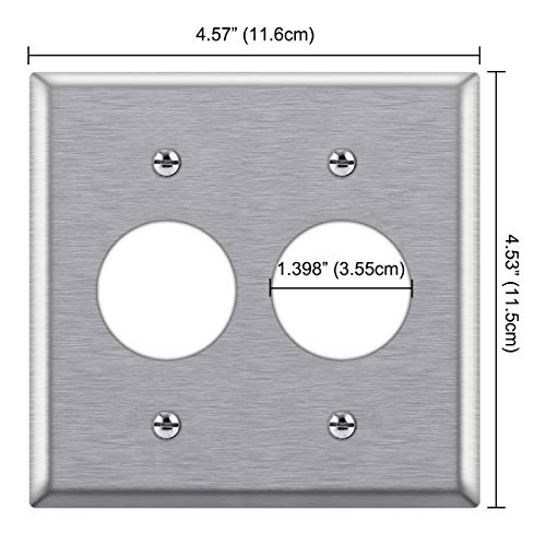 [2 Pack] BESTTEN 2-Gang 1.398-Inch Hole Metal Wall Plate for Single Receptacle, Anti-Corrosion Stainless Steel Outlet Cover, Industrial Grade 430SS, Standard Size, Silver, UL listed