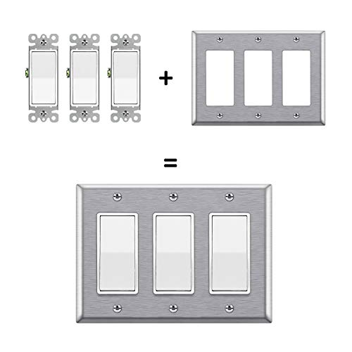 "BESTTEN 3-Gang Decorator Metal Wall Plate, Standard Size 4.5"" x 6.375"", 430 Stainless Steel Outlet Cover, UL listed, Silver"