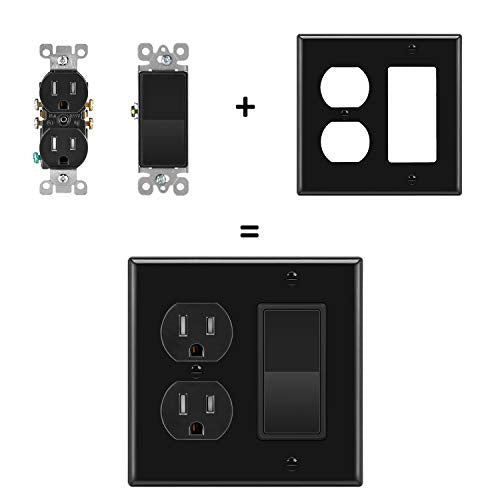[2 Pack] BESTTEN 2-Gang Combination Wall Plate, 1-Duplex/1-Decor, Standard Size H4.53(inches)x W4.57(inches)x D0.25(inches) Unbreakable Polycarbonate Outlet and Switch Cover, UL listed, Black