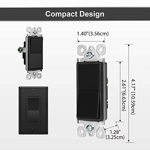 [10 Pack] BESTTEN Single Pole Decorator Wall Light Switch with Wall Plate, 15A 120/277V, On/Off Rocker Paddle Interrupter, cUL Listed, Black