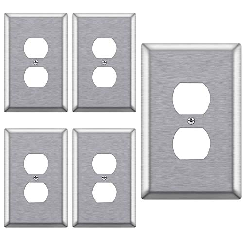 [5 Pack] BESTTEN 1-Gang Mid-Size Duplex Receptacle Metal Wall Plate, Stainless Steel Outlet Cover, Durable Corrosion Resistant, Silver, UL/cUL Listed