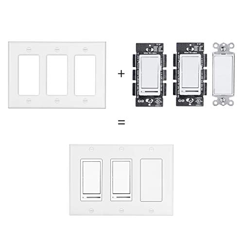 [2 Pack] BESTTEN 3-Gang Decorator Wall Plate, GFCI Outlet and Dimmer Switch Cover with 3 Decorator Openings, Standard Size, Unbreakable Polycarbonate, UL Listed, White