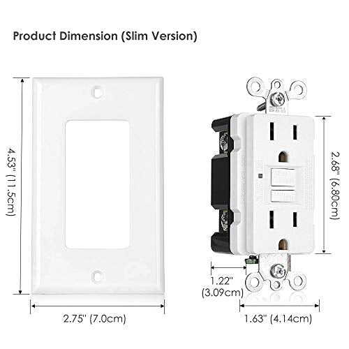 [6 Pack] BESTTEN UL-Listed 15 Amp Self-Test GFCI Receptacle, USG5 Slim Series, Non-Tamper-Resistant, Wallplate Included, White