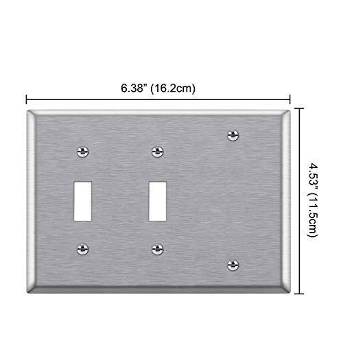 [2 Pack] BESTTEN 3-Gang Combination Metal Wall Plate, 1-Blank/2-Toggle, Standard Size, Anti-Corrosion 430 Stainless Steel Outlet and Switch Cover, UL Listed, Silver