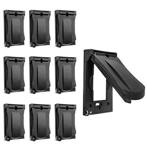 [10 Pack] BESTTEN Outdoor Outlet Cover for GFCI and Decor Receptacle, Weather Proof, Vertical/Horizontal Auto-Closing Lid, UL Listed, Black