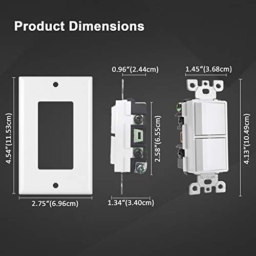 [10 Pack] BESTTEN Combination Decorator Light Switch, Single Pole, Double On/Off Interrupters, 15A 120V, Dual Paddle Rockers, Wallplate Included, White