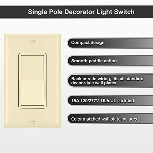 [10 Pack] BESTTEN Ivory Light Switch Interrupter, Rocker Style, Single Pole, 15A 120/277V, Decor Wall Plate Included, Commercial and Residential Use, UL/cUL Listed