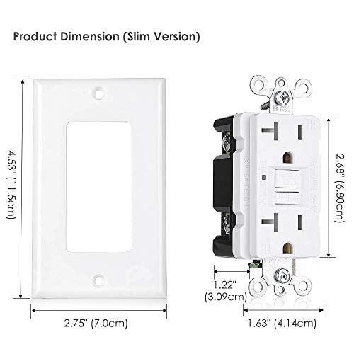 [10 Pack] BESTTEN 20 Amp GFCI Outlet, Self-Test GFI, Slim Design, Tamper-Resistant Receptacle with LED Indicator, Wallplate Included, White