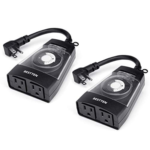 BESTTEN [2 Pack] Outdoor 24-Hour Timer, 2 Grounded Outlets, 6-Inch Power Cord, Flat Plug, Heavy Duty, Weatherproof, for Thanksgiving, Christmas and Other Holiday Decorations, ETL Certified, Black