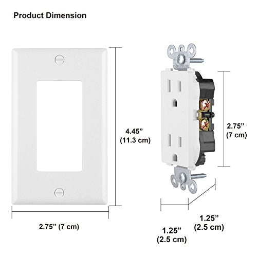 [50 Pack] BESTTEN UL Listed 15A Standard Decor Receptacle Outlet with Wall Plate, None-Tamper-Resistant, Commercial Grade, White