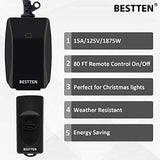 [2 Pack] BESTTEN Remote Control Outdoor Outlet Switch with 6-Inch Heavy Duty Power Cord, 15A/125V/1875W, ETL and FCC Certified