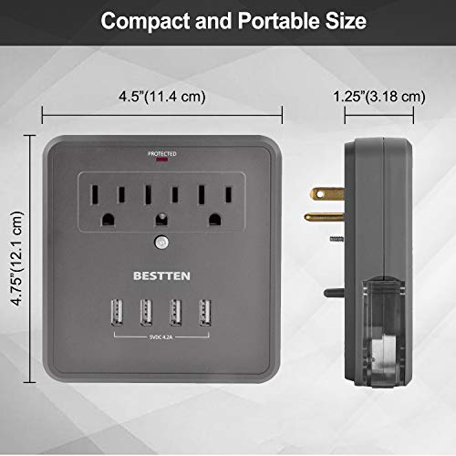 BESTTEN Surge Protector, 4 USB Charging Ports (4.2A Totally) and 3 Outlets, Wall Mount, LED Indicator and 2 Slide-Out Phone Holders, ETL/cETL Certified, Grey