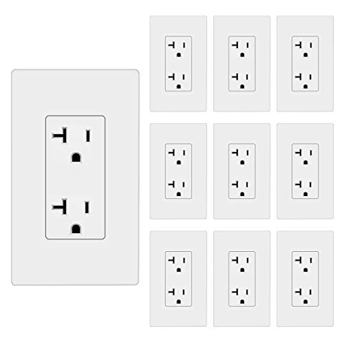 [10 Pack] BESTTEN 20A Decorator Receptacle Outlet with Screwless Wallplate, None TR, UL Listed, White