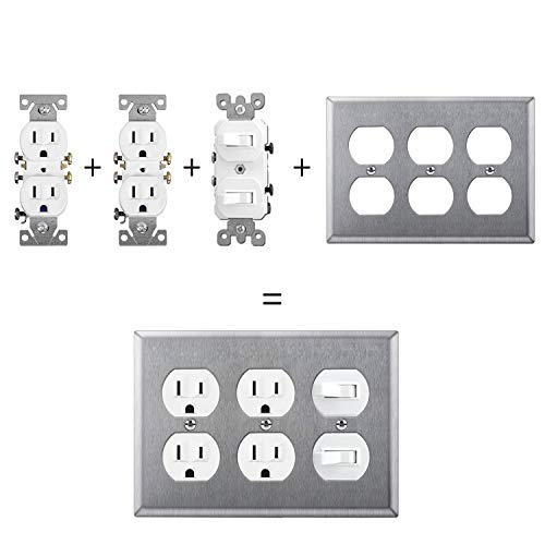 [2 Pack] BESTTEN 3-Gang Duplex Metal Wall Plate, Stainless Steel Heavy Duty Outlet and Switch Cover, Industrial Grade 304SS, Standard Size, Silver
