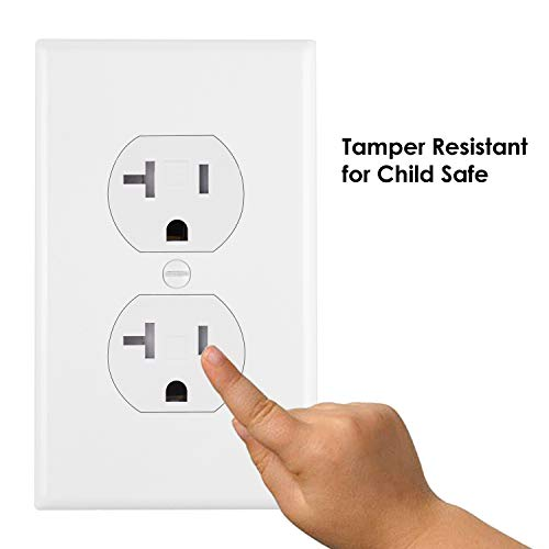 [10 Pack] BESTTEN Duplex Wall Receptacle Outlet, 20A/125V/2500W, Tamper Resistant, Wall Plate Included, Residential and Commercial Use, cUL Listed, White