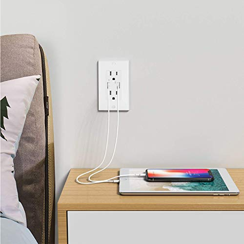 BESTTEN USB Wall Receptacle, 1 Pack of 4-USB Outlet (4.2A Shared), 2 Pack of 15A Tamper-Resistant Outlet with Dual USB Charging Ports (3.6A Shared), Combo Package, UL Listed, White