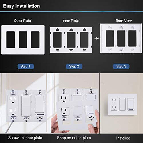 [2 Pack] BESTTEN 3-Gang Screwless Wall Plate, USWP6 Snow White Series, Decorator Outlet Cover, 4.69(inches)x 6.54(inches) Polycabonate Thermoplastic, UL Listed