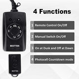 BESTTEN Remote Control Outdoor Outlet with Dusk to Dawn and Photocell Countdown Timer Functions, ETL and FCC Certified, Black