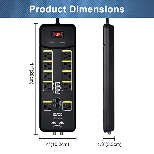 BESTTEN 3800-Joule Surge Protector, 10-Outlet All-in-One Power Strip with 2 USB Charging Ports (3.1A Total) and Phone/Ethernet/Coaxial Protection, 9-Foot Ultra Long Extension Cord, ETL Listed, Black