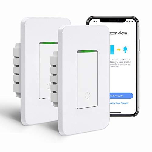 [2 Pack] BESTTEN Single Pole WiFi Light Switch, Smart Wall Switch with Remote Control and Timer Functions, Compatible with Alexa/Google Assistant/IFTTT, No Hub Required, ETL & FCC Approved