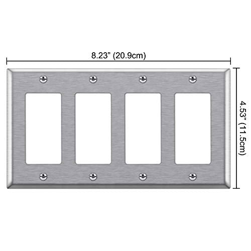 "[2 Pack] BESTTEN 4-Gang Decorator Metal Wall Plate, Standard Size 4.5"" x 8.187"", 430 Stainless Steel Outlet Cover, UL listed, Silver"