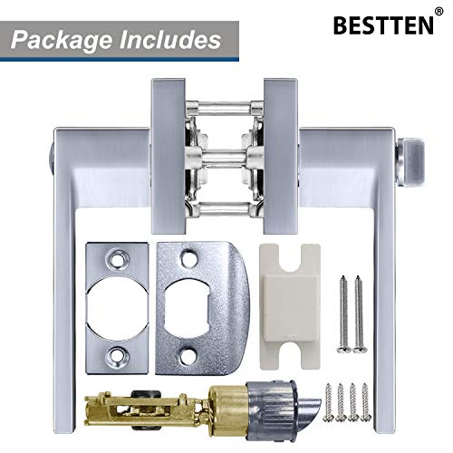 BESTTEN Privacy Door Lever Set with Keyless Lock, Monaco Series, Satin Chrome