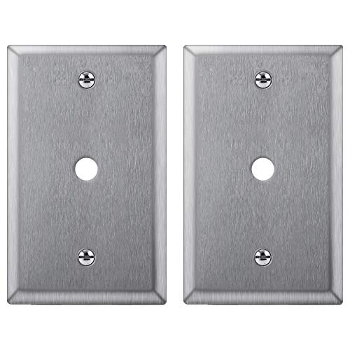 [2 Pack] BESTTEN 1-Gang Metal Wall Plate for Telephone/Cable, Anti-Corrosion Stainless Steel Outlet Cover, Industrial Grade 304SS, Standard Size, Screw Included, Silver