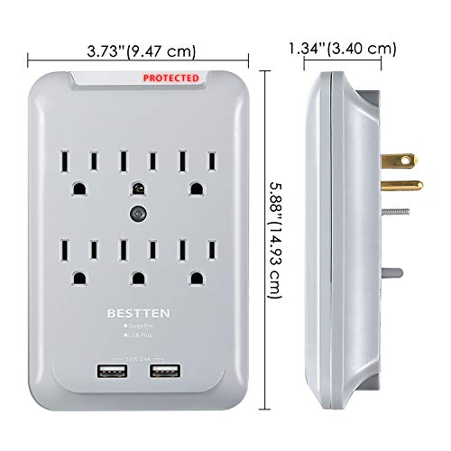 BESTTEN 6-Outlet Surge Protector, 900 Joule, 2 USB Charging Ports (2.4A Shared), Wall Mountable Outlet Extender, ETL Certified, Grey