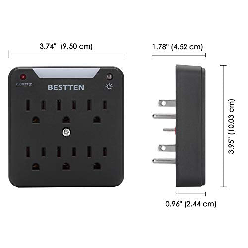 [2 Pack] BESTTEN 900-Joule Wall Mount Surge Protector, 6-Outlet Extender with Auto LED Night Light, Dusk to Dawn Photocell Sensor, ETL Certified, Black
