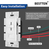 [10 Pack] BESTTEN Dimmer Light Switch, Single-Pole or 3-Way, for Dimmable LED, CFL, Halogen and Incandescent Bulb, Vertical Slide Control, ON/Off Rocker, Wall Plate Included, cUL Listed, White