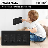 [2 Pack] BESTTEN 4-Gang Black Screwless Wall Plate, Unbreakable Polycarbonate Outlet Cover, 4.69(inches)x 8.35(inches) for Light Switch, Dimmer, GFCI, USB Receptacle, UL Listed