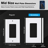 [20 Pack] BESTTEN 1-Gang Mid Size Screwless Wall Plate, USWP4 White Series, H4.85(inches)x W3.10(inches)x D0.26(inches) Unbreakable Polycarbonate Outlet Cover, for Light Switch, Dimmer, GFCI, USB Receptacle