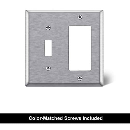 [2 Pack] BESTTEN 2-Gang Combination Metal Wall Plate, 1-Toggle/1-Decor, Standard Size, Anti-Corrosion 430 Stainless Steel Outlet and Switch Cover, UL Listed, Silver