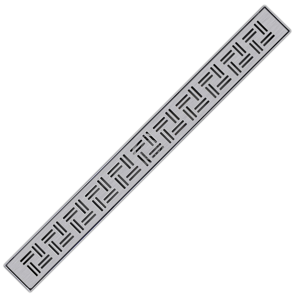 BESTTEN 24 inch Linear Shower Drain, Brushed 304 Stainless Steel, Linear Drain with Trapunta Style Grate Insert, 2 Inch Outlet, CUPC