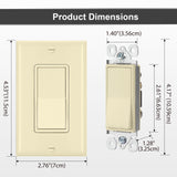 [4 Pack] BESTTEN Ivory 3-Way Decorator Wall Light Switch, 15A 120/277V, Decor Wallplate Included, On/Off Rocker Paddle Interrupter, UL/cUL Listed
