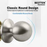 [10 Pack] Passage Door Knob Set with No Lock, Ball Door Knob, All Metal, Satin Nickel Finish, by BESTTEN