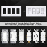 [5 Pack] BESTTEN 4-Gang Screwless Wall Plate, USWP6 Snow White Series, Decorator Outlet Cover, 4.69(inches)x 8.35(inches) for Light Switch, Dimmer, GFCI, USB Receptacle, UL Listed