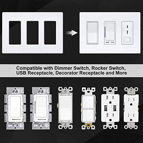 [2 Pack] BESTTEN 3-Gang Black Screwless Wall Plate, Unbreakable Polycarbonate Outlet Cover, 4.69 inchesx 6.54 inches for Light Switch, Dimmer, GFCI, USB Receptacle, UL Listed
